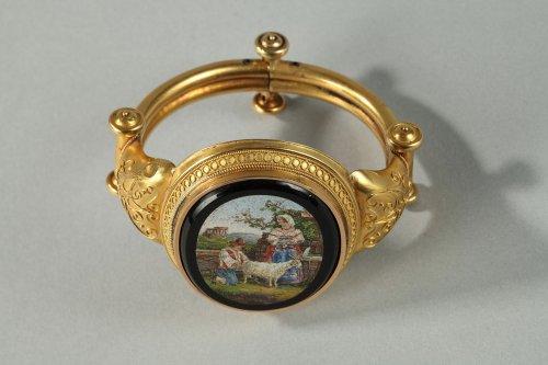 Gold and micromosaic bracelet Circa 1860-1870
