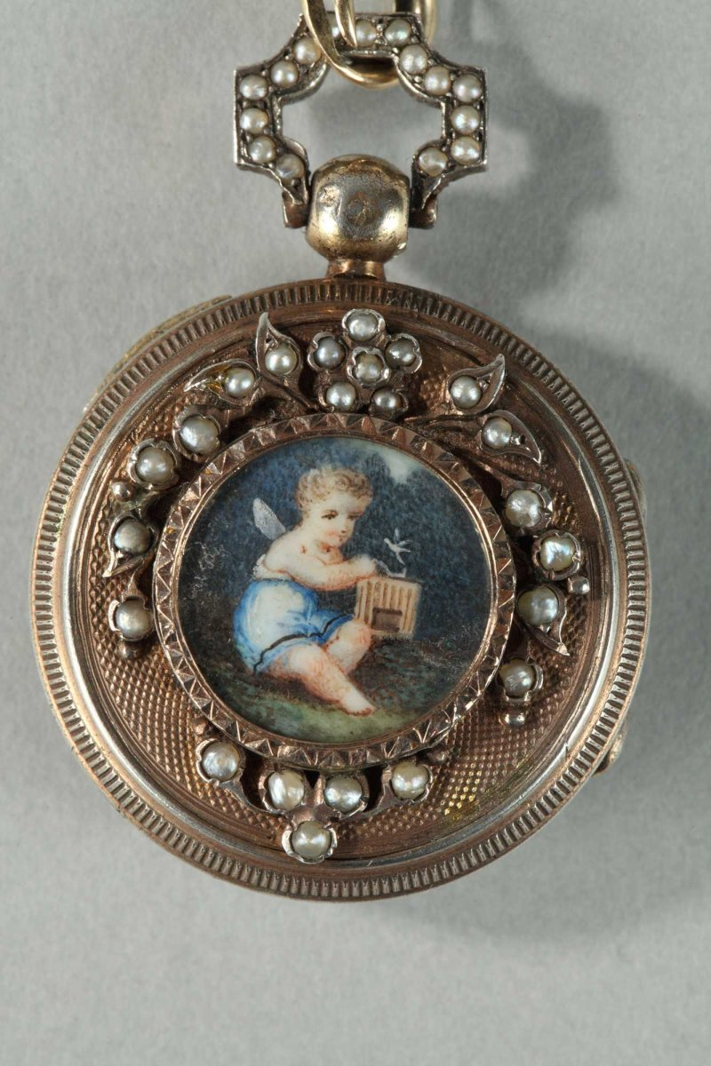Silver Chatelaine With Pearls 19th Century Ref 52313