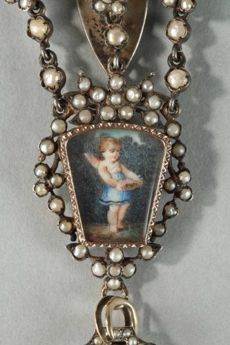 Antique Jewellery  - Silver chatelaine with pearls. 19th century.