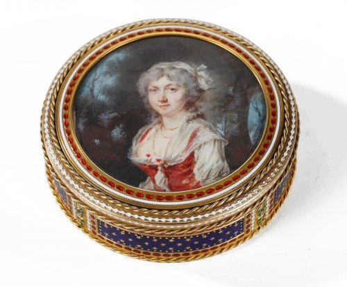 Gold and enamel bonbonniere with miniature. Hanau, 18th century.