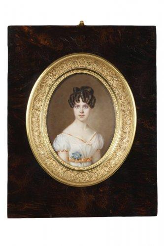 Large miniature. Signed Amélie Daubigny.