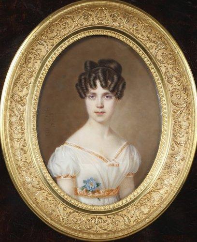 Large miniature. Signed Amélie Daubigny.  - Paintings & Drawings Style Restauration - Charles X