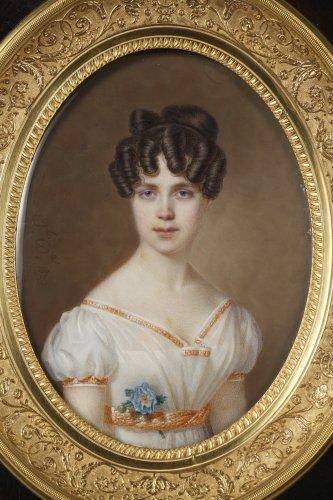Paintings & Drawings  - Large miniature. Signed Amélie Daubigny.