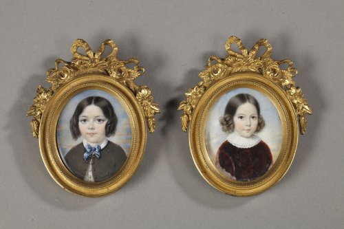 Pair of miniature. Gilt bronze frame 19th century