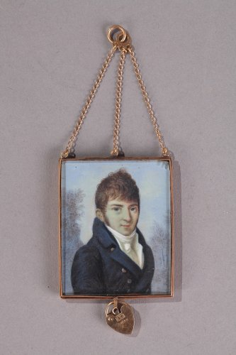 Miniature on ivory, gold and gilded glass 19th century