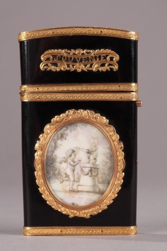 Gold panel and vernis Martin writing case. Louis XVI period.