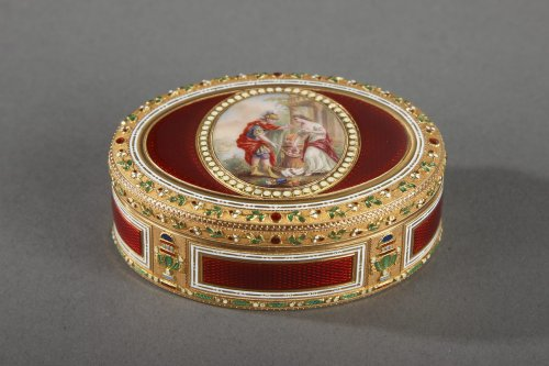 Gold and enamel snuffbox. Late 18th century Swiss box.