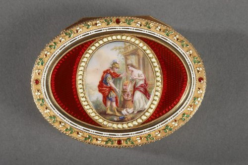 Gold and enamel snuffbox. Late 18th century Swiss box. - Objects of Vertu Style Louis XVI