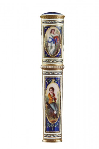Gold and enamel needle case. Late 18th century. Swiss.
