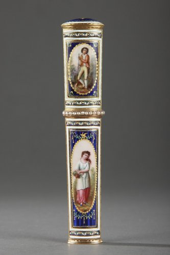 Gold and enamel needle case. Late 18th century. Swiss. - Objects of Vertu Style Louis XVI