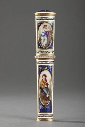 Objects of Vertu  - Gold and enamel needle case. Late 18th century. Swiss.