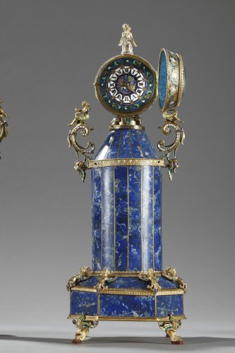 A austrian silver-gilt enamel and lapis clock garniture. Herman Boehm.  - Clocks Style
