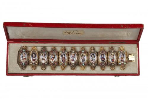 Bracelet in gold, enamel and gemstones mid-19th century