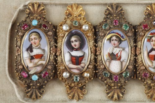 Bracelet in gold, enamel and gemstones mid-19th century - Antique Jewellery Style Restauration - Charles X
