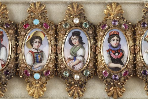 Bracelet in gold, enamel and gemstones mid-19th century -