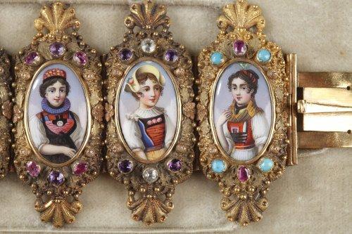 19th century - Bracelet in gold, enamel and gemstones mid-19th century