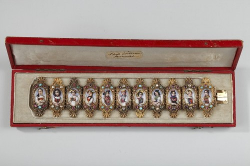 Bracelet in gold, enamel and gemstones mid-19th century - Restauration - Charles X