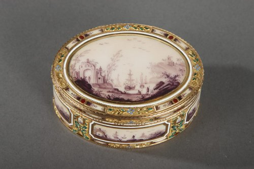 Enamel and gol box.18th century german crasftsmanship.