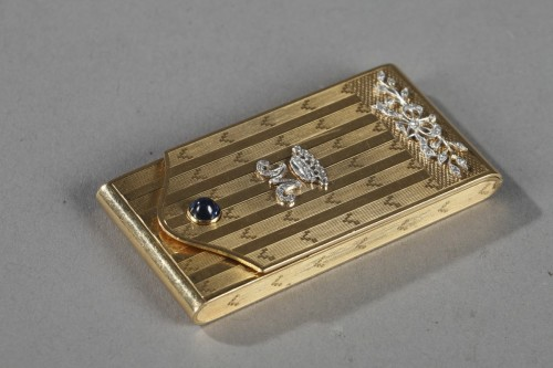 Antique Jewellery  - Gold Case with Diamonds and Sapphire.  Early 20th Century.