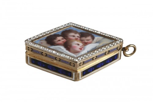 Gold vinaigrette with pearls ans enamel. Late 18th century. Swiss work