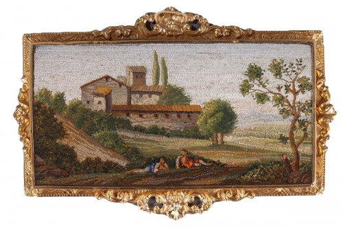 Micromosaic Plate with Arcadian landscape, Early 19th Century.