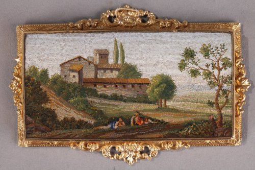 Objects of Vertu  - Micromosaic Plate with Arcadian landscape, Early 19th Century.
