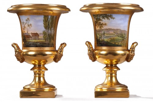 Pair of porcelaine de Paris vases view of Achy Signed Feuillet