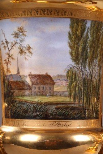 Pair of porcelaine de Paris vases view of Achy Signed Feuillet - Porcelain & Faience Style Restauration - Charles X