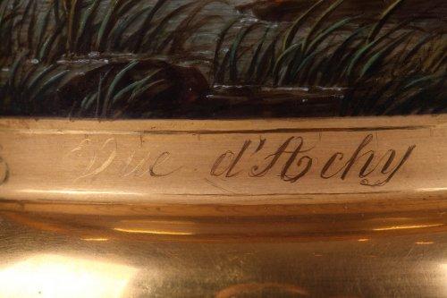 Pair of porcelaine de Paris vases view of Achy Signed Feuillet - Restauration - Charles X