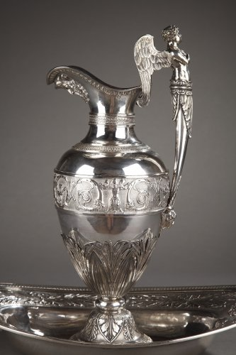 Silver ewer with bowl by Edme Gelez. Circa 1809-1819 - Antique Silver Style Restauration - Charles X