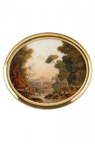 Reverse Glass Painting with Pastoral Scene, early 19th century