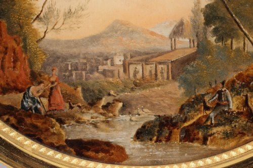 Reverse Glass Painting with Pastoral Scene, early 19th century - Objects of Vertu Style Restauration - Charles X