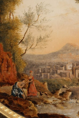 Reverse Glass Painting with Pastoral Scene, early 19th century -