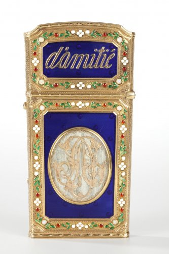 Writing case in gold and enamel. 18th century - Objects of Vertu Style Louis XVI