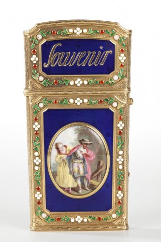 Writing case in gold and enamel. 18th century -