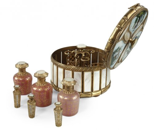 Mother of pearl and bronze perfume box.  Napoleon III period.