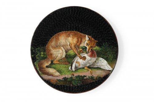 Micromosaic plate Luigi Cavaliere Moglia. Mid 19th century.