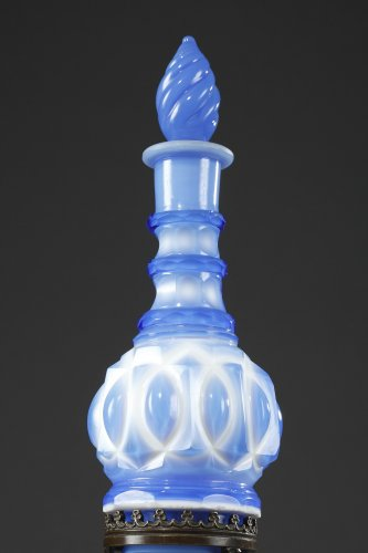 Neogothic carmelite water flask in opaline-bronze mounted Circa 1820-1830 - Glass & Crystal Style Restauration - Charles X