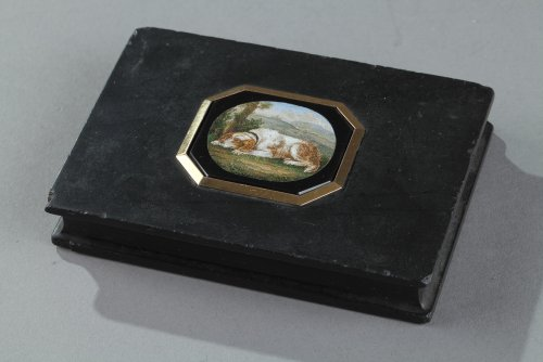 Micromosaic and gold paperweight. After G.Barberi. Early 19th century. - Objects of Vertu Style Restauration - Charles X