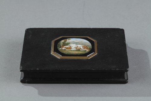 Objects of Vertu  - Micromosaic and gold paperweight. After G.Barberi. Early 19th century.
