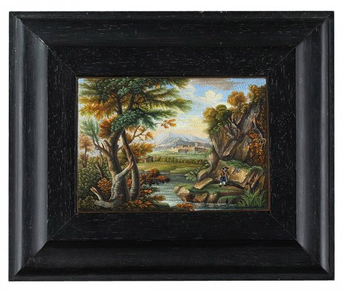 Micromosaic plaque with river landscape. Early 19th century. Circa 1820.