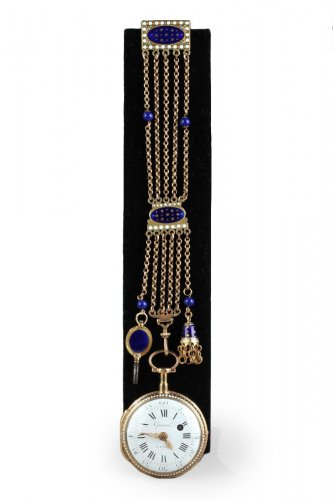Enameled Gold Chatelaine with Watch by C-T Guenoux, 18th Century.