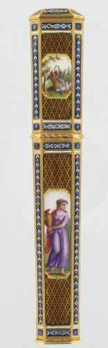 Gold and enamel needle case, Late 18th centur Swiss work - Objects of Vertu Style