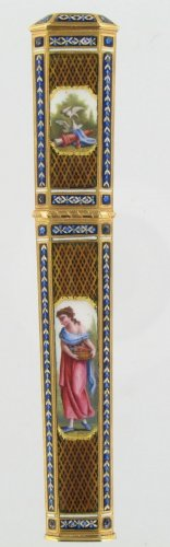 Objects of Vertu  - Gold and enamel needle case, Late 18th centur Swiss work