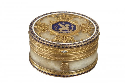 Quartz and gold box with enamel and diamond, Rozet and Fishmeinster