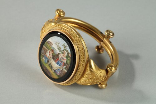 Antique Jewellery  - Gold and micromosaic bracelet Circa 1860-1870