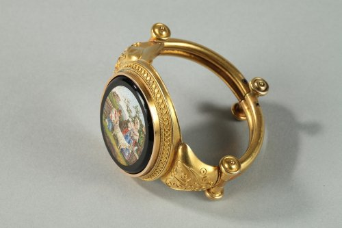 19th century - Gold and micromosaic bracelet Circa 1860-1870