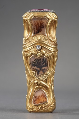 Gold flask with enamel, diamonds and gemstones. 19th century. - Objects of Vertu Style
