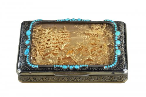 Silver Box with Niello, Gold, and Turquoise  In the Taste of J.C Kirstein.