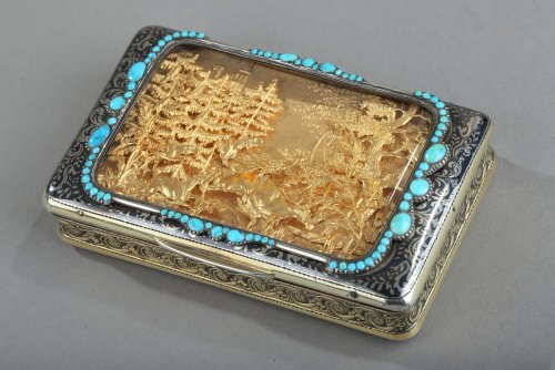 Silver Box with Niello, Gold, and Turquoise  In the Taste of J.C Kirstein. - Objects of Vertu Style Restauration - Charles X